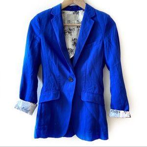 H&M blue one button long blazer